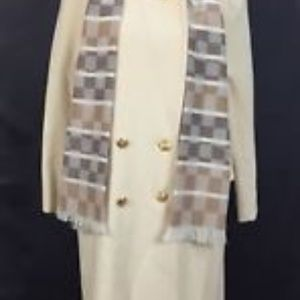 Abbmoor Coat SZ 14WP Buttn Front Scarf High Collar